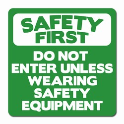 "sd010-02 - Vinyl Safety First Decal 3.5"" square , Safety Sticker, Safety Door Decal, Safety Door Sticker, Safety Label"