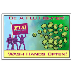 AI-sp424 - Flu Prevention Safety Poster, Flu Poster, Swine Flu Poster, Flu Bug