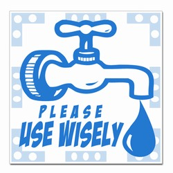 wd004 - Water Conservation 2&quot; Square Decal, Water Conservation Handouts, Energy Conservation Gift, Energy Conservation Incentive