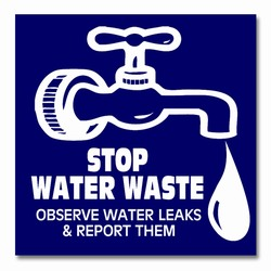 wd007 - Water Conservation 3&quot; Square Decal, Water Conservation Handouts, Energy Conservation Gift, Energy Conservation Incentive