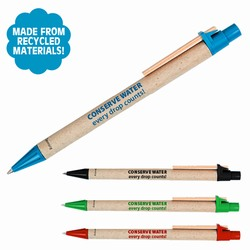 AI-whpen014 - Water Themed Recycled Materials Click Pen, Recycling Promo Gifts, Recycling Gifts for Tradeshows, recycling ad specialties
