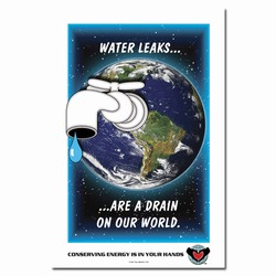 wp105 - Water Conservation Poster, Water quality poster, water conservation placard, water conservation sign, water quality sign, water conservation awareness