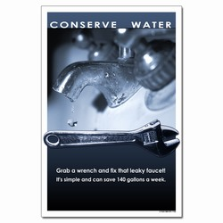 wp358 - Water Conservation Poster, Water quality poster, water conservation placard, water conservation sign, water quality sign, water conservation awareness