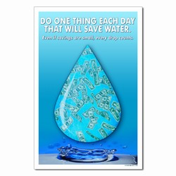 wp361 - Water Conservation Poster, Water quality poster, water conservation placard, water conservation sign, water quality sign, water conservation awareness