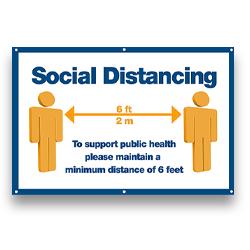 000VPBNR-700 - Social Distancing Banner, Vinyl Banner, Virus Protection Banner