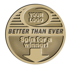 VPCOIN-5 Virus Protection Coin, coin spinner, winner, spin to win, medallion, back to work, back in action