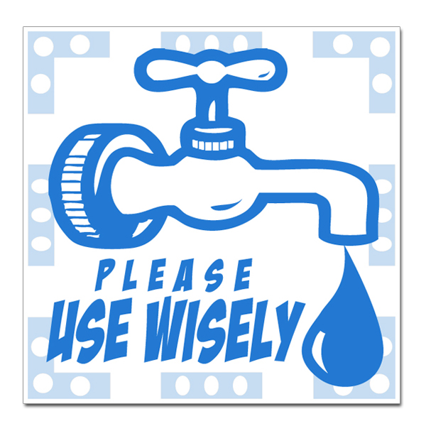 "-wd004 - 1 Color Please Use Wisely Water Conservation 2"" Square Decal"