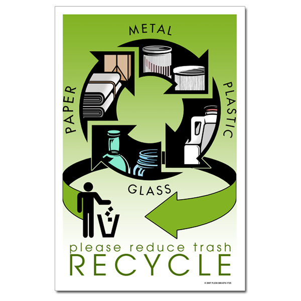 ai-rp311 - please reduce trash recycle metal plastic paper glass
